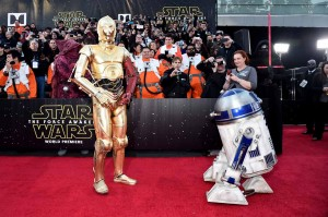 R2-D2 and CP-3O at the World Premiere of Star Wars: The Force Awakens held at TCL Chinese Theatre, Hollywood Blvd, Los Angeles, CA on December 14, 2015.