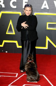 Carrie Fisher attends the UK film premiere of Star Wars: The Force Awakens held at Odeon and Empire Cinemas, Leicester Square London. (December 14, 2015)