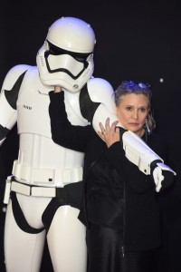Carrie Fisher and Stormtrooper at the UK film premiere of Star Wars: The Force Awakens held at Odeon and Empire Cinemas, Leicester Square London. (December 14, 2015)