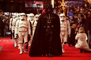 Darth Vader leads the stormtroopers on the red carpet at the UK film premiere of Star Wars: The Force Awakens held at Odeon and Empire Cinemas, Leicester Square London. (December 14, 2015)