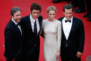 Denis Villeneuve, Josh Brolin, Emily Blunt and Benicio del Toro attend the French film premiere of Sicario during 68th Annual Cannes Film Festival on May 19, 2015.