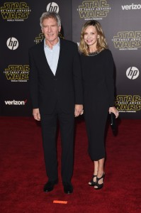 Harrison Ford and Calista Flockhart attend the World Premiere of Star Wars: The Force Awakens held at TCL Chinese Theatre, Hollywood Blvd, Los Angeles, CA on December 14, 2015.