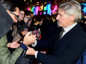 Harrison Ford with fans at the UK film premiere of Star Wars: The Force Awakens held at Odeon and Empire Cinemas, Leicester Square London. (December 14, 2015)
