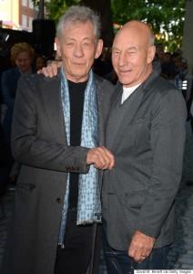 Ian McKellen and Patrick Stewart at the U.K. film premiere of Mr. Holmes held at Odeon, Kensington, London on June 10, 2015.