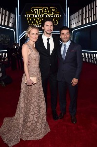 Joanne Tucker, Adam Driver and Oscar isaac at the World Premiere of Star Wars: The Force Awakens held at TCL Chinese Theatre, Hollywood Blvd, Los Angeles, CA on December 14, 2015.