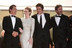 Josh Broling, Emily Blunt, Benicio del Toro and Denis Villeneuve attend the French film premiere of Sicario during 68th Annual Cannes Film Festival on May 19, 2015.