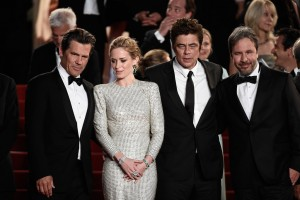 Josh Brolin, Emily Blunt, Benicio del Toro and Denis Villeneuve attend the French film premiere of Sicario during 68th Annual Cannes Film Festival on May 19, 2015.