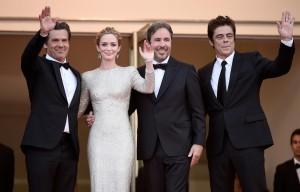 Josh Brolin, Emily Blunt, Denis Villeneuve and Benicio del Toro attend the French film premiere of Sicario during 68th Annual Cannes Film Festival on May 19, 2015.