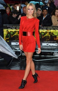 Kimberley Garner attends the U.K. film premiere of Sicario held at Empire Cinema, Leicester Square, London on September 21, 2015.