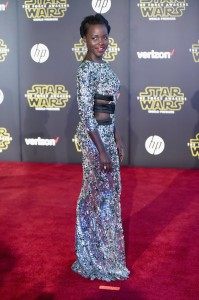 Lupita Nyong'o attends the World Premiere of Star Wars: The Force Awakens held at TCL Chinese Theatre, Hollywood Blvd, Los Angeles, CA on December 14, 2015.