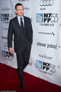 Michael Fassbender attends the New York film premiere of Steve Jobs held at the Lincoln Center, NYC on October 3, 2015.