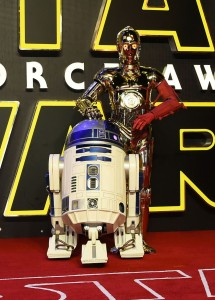 R2-D2 and C-P3O at the UK film premiere of Star Wars: The Force Awakens held at Odeon and Empire Cinemas, Leicester Square London. (December 14, 2015)
