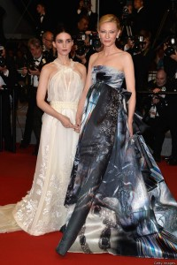 Rooney Mara and Cate Blanchett attend the French film premiere of Carol during 68th Annual Cannes Film Festival on May 17, 2015.