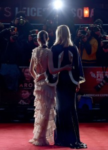 Rooney Mara and Cate Blanchett attend the U.K. film premiere of Carol held in Leicester Square, London on October 14, 2015.