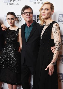 Rooney Mara, Todd Haynes and Cate Blanchett attend the New York film premiere of Carol held at the Musuem of Modern Art, NYC on November 16, 2015.
