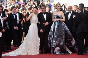 Rooney Mara, Director Todd Haynes and Cate Blacnhett attend the French film premiere of Carol during 68th Annual Cannes Film Festival on May 17, 2015.
