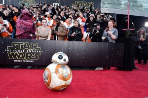 Star Wars droid on the Star Wars: Force Awakens red carpet at the world premiere in Los Angeles.
