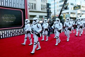 Stormtroopers storm the carpet at the World Premiere of Star Wars: The Force Awakens held at TCL Chinese Theatre, Hollywood Blvd, Los Angeles, CA on December 14, 2015.