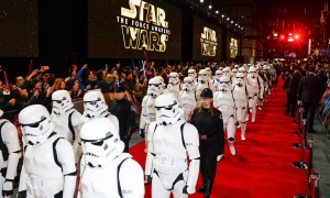 Stormtroopers march the red carpet at the UK film premiere of Star Wars: The Force Awakens held at Odeon and Empire Cinemas, Leicester Square London. (December 14, 2015)