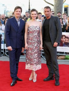 Thomas Vinterberg, Carey Mulligan and Matthias Scheonaerts attend the U.K. film premiere of Far from the Madding Crowd held at Odeon, Kensington, London on April 15, 2015.