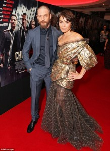 Tom Hardy and Noomi Rapace attend the U.K. film premiere of Child 44 held at Vue West End, Leicester Square, London on April 16, 2015.
