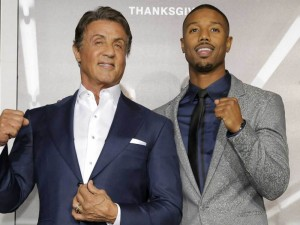 Sylvester Stallonre & Michael B. Jordan at the Creed premiere in Los Angeles, CA.
