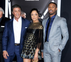 Sylvester Stallone, Tessa Thompson and Michael B. Jordan attend the Creed premiere in Los Angeles held at Regency Village Theatre, Westwood, CA on November 19, 2016.