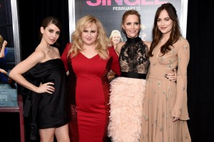 Alison Brie, Rebel Wilson, Leslie Mann and Dakota Johnson attend the New York premiere of their romantic comedy How to Be Single.
