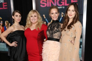 Alison Brie, Rebel Wilson, Leslie Mann and Dakota Johnson at the How to Be Single premiere in New York City.