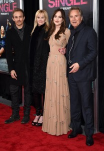 Dakota Johnson have her famous parents Melanie Griffith and Don Johnson by her side, along with her brother Jesse Johnson at the How to Be Single premiere in New York City.