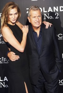 Karlie Kloss and Mario Testino attend the Spain premiere of Zoolander No. 2 held at Capitol Cinema, Madrid on February 1, 2016.
