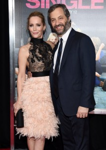 Leslie Mann and husband Judd Apatow attend the How To Be Single Premiere in New York held at NYU Skirball Center, NYC on February 3, 2016.