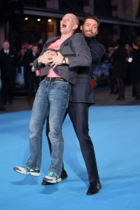 Eddie Edwards and Hugh Jackman at the European film premiere of Eddie the Eagle held at Odeon, Leicester Square, London on March 17, 2016.