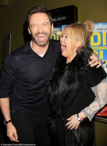 Hugh Jackman & Caroline Rhea attends a screening for Eddie the Eagle in New York City on February 2, 2016.