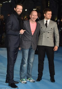 Hugh Jackman, Taron Egerton and Eddie Edwards at the European film premiere of Eddie the Eagle held at Odeon, Leicester Square, London on March 17, 2016.