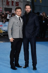 Taron Egerton and Hugh Jackman at the European film premiere of Eddie the Eagle held at Odeon, Leicester Square, London on March 17, 2016.