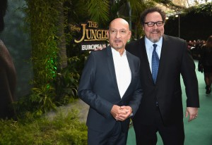 Ben Kingsley and Jon Favreay at the European premiere of The Jungle Book held at BFI IMAX, Southbank, Waterloo, London on April 13, 2016.