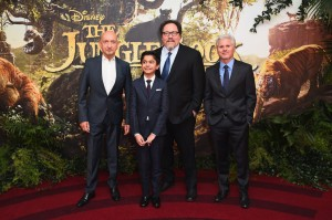 Ben Kingsley, Neel Sethi, Jon Favreau and Brigham Taylor at the European premiere of The Jungle Book held at BFI IMAX, Southbank, Waterloo, London on April 13, 2016.