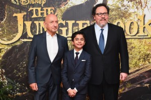 Ben Kingsley, Neel Sethi and Jon Favreau at the European premiere of The Jungle Book held at BFI IMAX, Southbank, Waterloo, London on April 13, 2016.