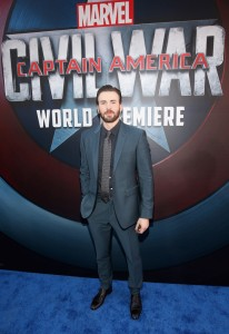 Chris Evans at the world premiere of Captain America: Civil War held at the Dolby Theatre, Hollywood Blvd, CA on April 12, 2016.
