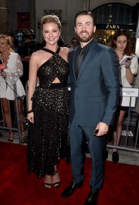 Emily VanCamp and Chris Evans at the world premiere of Captain America: Civil War held at the Dolby Theatre, Hollywood Blvd, CA on April 12, 2016.