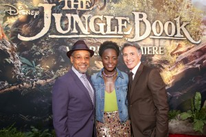Giancarlo Esposito, Lupita Nyong'o and Ricky Strauss at the world premiere of The Jungle Book held at El Capitan Theatre, Hollywood Blvd, Los Angeles, California on April 4, 2016.