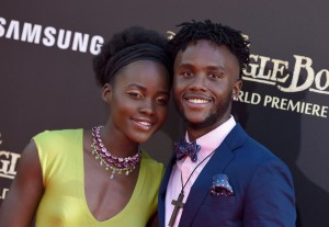 Lupita Nyong'o and brother at the world premiere of The Jungle Book held at El Capitan Theatre, Hollywood Blvd, Los Angeles, California on April 4, 2016.