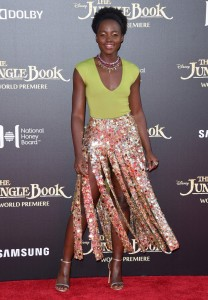 Lupita Nyong'o at the world premiere of The Jungle Book held at El Capitan Theatre, Hollywood Blvd, Los Angeles, California on April 4, 2016.