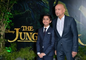 Neel Sethi and Ben Kingsley at the European premiere of The Jungle Book held at BFI IMAX, Southbank, Waterloo, London on April 13, 2016.