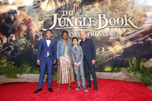 Ritesh Rajan, Lupita Nyong'o, Neel Sethi and Ben Kingsley at the world premiere of The Jungle Book held at El Capitan Theatre, Hollywood Blvd, Los Angeles, California on April 4, 2016.