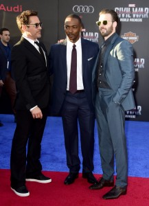 Robert Downey Jr., Anthony Mackie and Chris Evans at the world premiere of Captain America: Civil War held at the Dolby Theatre, Hollywood Blvd, CA on April 12, 2016.
