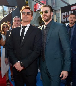 Robert Downey Jr. and Chris Evans at the world premiere of Captain America: Civil War held at the Dolby Theatre, Hollywood Blvd, CA on April 12, 2016.