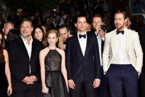 Russell Crowe, Angourie Rice, Matt Bomer and Ryan Gosling at The Nice Guys premiere during the 69th Annual Cannes Film Festival held at Palais des Festivals on Sunday 15th May 2016