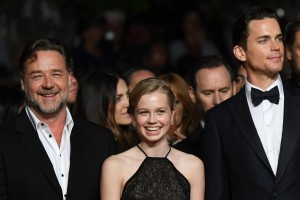 Russell Crowe, Angourie Rice and Matt Bomer at The Nice Guys premiere during the 69th Annual Cannes Film Festival held at Palais des Festivals on Sunday 15th May 2016